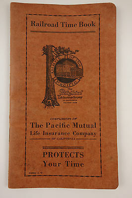 Vintage 1929 Railroad Time Book Advertising Pacific Mutual Insurance Calendar