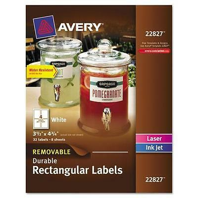 Avery 22827 Removable Durable Labels, TrueBlock Technology, 4-3/4 x 3-1/2, White