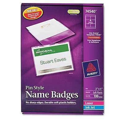 Avery 74540 Badge Holder Kit w/Laser/Inkjet Insert, Top Load, 3 x 4, White, 100/