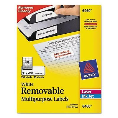 Avery 6460 Removable Inkjet/Laser ID Labels, 1 x 2-5/8, White, 750/Pack