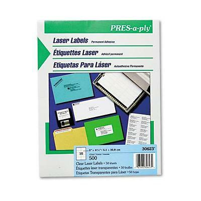 Avery 30623 Pres-A-Ply Laser Address Labels, 2 x 4-1/4, Clear, 500/Box