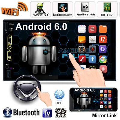 "7"" Dual 2 DIN Car Radio Stereo MP5 Player Quad Core Android 6.0 GPS 3G WIFI RDS"