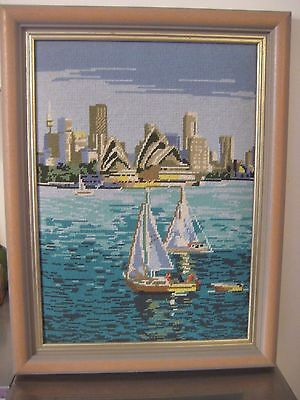 Vintage Sydney Opera House & Harbour Framed Tapestry Needlepoint. 59 x 45cms