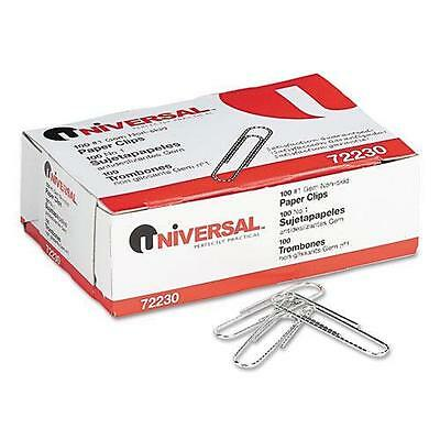 Universal 72230 Nonskid Paper Clips, Wire, No. 1, Silver, 1000/Pack