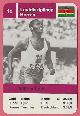 Vintage German Trade Card 1968 Olympics 1500m Gold Medal Winner Kip Keino Kenya