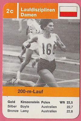Vintage German Trade Card 68 Olympics 200m Gold Medal Irena Kirszenstein Poland