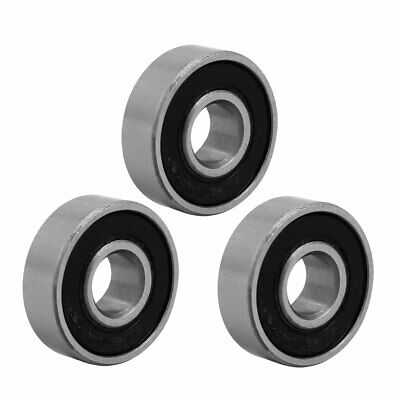 22mmx8mm Stainless Steel Double Sealed Deep Groove Ball Bearing Silver Tone 3pcs