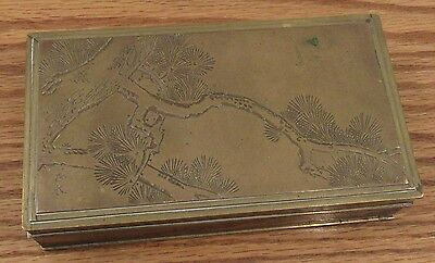Vintage signed Japanese brass/wood lined box hand engraved pine tree branch lid