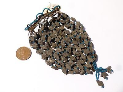 Antique 19thC Hand Made Molded Floral Lozenge Shaped Clay & Glass Beads PURSE