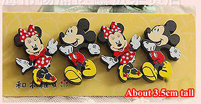 4pcs Small Funny Wooden Fridge Magnet Kid Party Favor Disney Mickey Minnie Mouse
