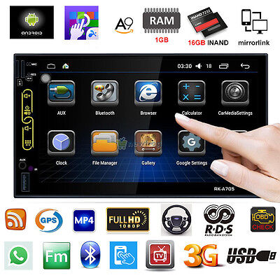 """7"""" Android 6.0 Double 2Din Car Radio Stereo MP5 Player GPS Navi OBD BT WiFi +CAM"""