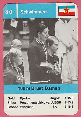 German Trade Card 1968 Olympics 100m Swimmer Gold Medal Winner Durdica Bjedov