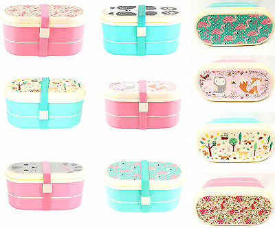 Kids Childrens Plastic Bento Lunch Boxes - Snacks Packed Lunch Box Bags