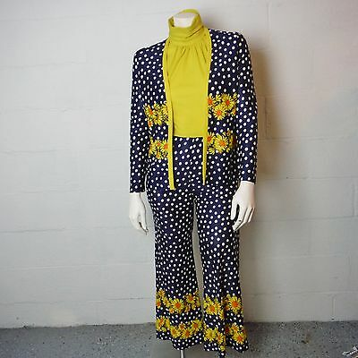 Vintage 70's Navy & Yellow Sunflower Polka Dot Jumpsuit And Jacket Set
