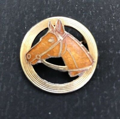 Vintage Equestrian Circle Pin Enamel Horse Head Gold Tone