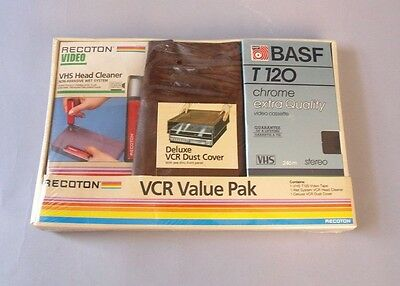 Vintage 80s VCR Dust Cover VHS Tape Head Cleaner Set kit Retro Recoton Sealed