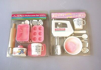 21pc Lot Toy Pretend Bakeware Dishes Kiddy Matic Chilton Globe Mixer NOS sealed