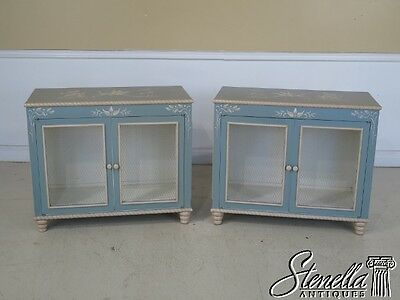 42824: Pair Paint Decorated 2 Door Hall Console Cabinets