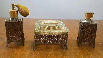 Vintage Filigree Footed Perfume and Trinket Vanity Set