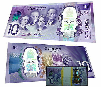 Celebrate Canada's 150th $10 COMMEMORATIVE POLYMER BANK NOTE BILL UNC.
