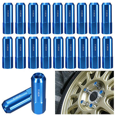 20 PCS Blue 60MM Aluminum Extended Tuner LUG Nuts For Wheels/Rims M12X1.5