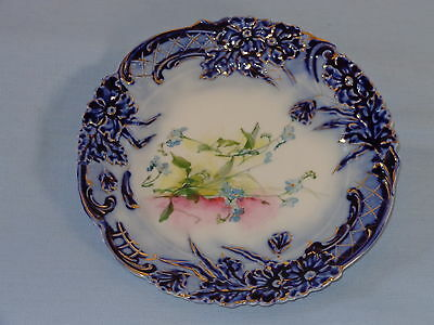 RS PRUSSIA Porcelain China Flow Blue Cobalt Floral Mold Plate with Flowers