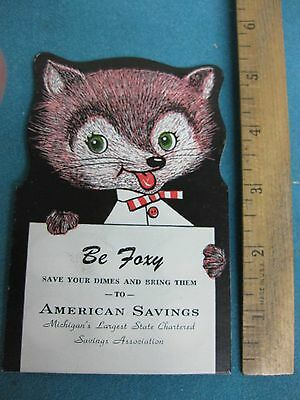 Vintage 1956, Dime Saver coin card, Banking Promotion Advertising, Be Foxy