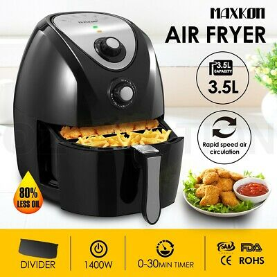 4.4L Low Fat Oil Free Air Fryer Healthy Rapid Oven Cooker With Recipes Black