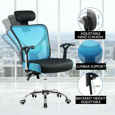 Office Computer Chair Breathable Ergo Mesh Lumbar Support Adjustable Seat BK&BL