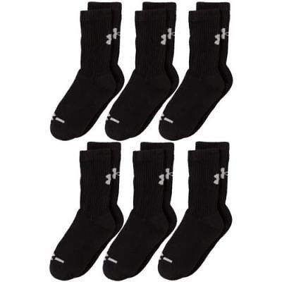Under Armour Crew Socks (6-Pair), Solid Black, Youth Large New