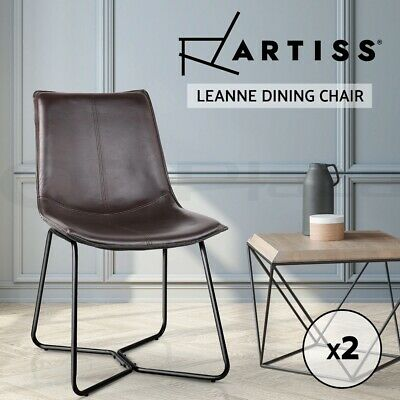 2xRetro Artiss Vintage Eames LEANNE Dining Chair Rustic DSW Leather Walnut