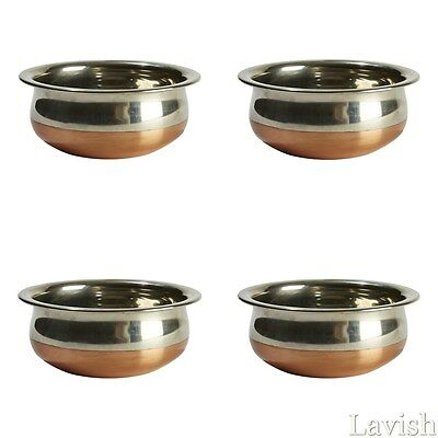 Set of 4 SERVING DISH Handi Curry Stainless Steel Copper Bottom Storage Bowl NEW