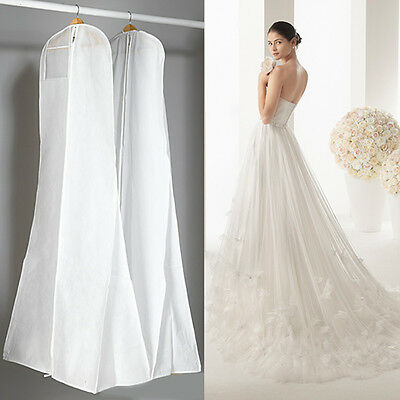 Dustproof Wedding Dress Bridal Gown Garment Cover Hanging Storage Bag Carrier