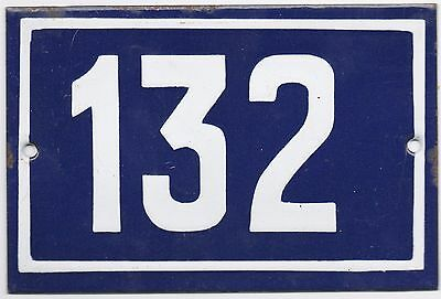 Old blue French house number 132 door gate plate plaque enamel metal sign steel