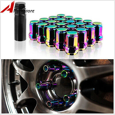 20pcs M12x1.5mm Lug Nuts Extended Racing Wheel Rim With Lock Colorful Chrome