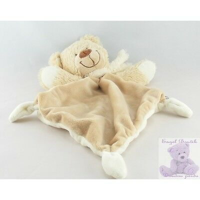 4523 - Doudou plat ours beige blanc TEX BABY - Security blanket