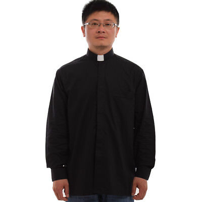 1PC Black Priest Pastor Clergy Shirt with Clerical Collar Long Sleeve Top Blouse
