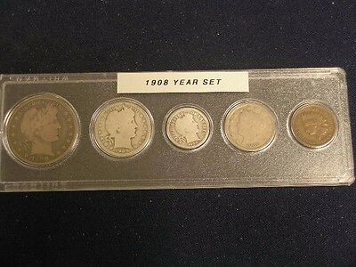 1908 Nice Circulated Year Set   - Vintage 5 Coin Set
