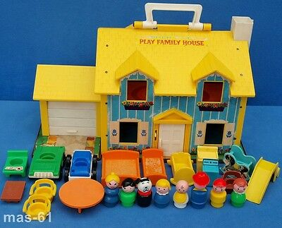 Fisher Price Play Family House # 952 Vintage Spielhaus Little People Aufklappbar