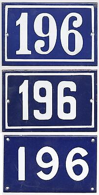 Old blue French house number 196 door gate plate plaque enamel steel metal sign