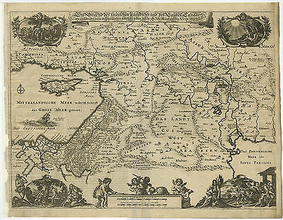 Antique Map-HOLY LAND-ISRAEL-PALESTINE-JEWS-CYPRUS-ABRAHAM-Von Sandrart-1708