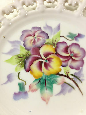 Lefton China Hand-Painted Open Lace Edge Plate - 1950s - Lavender Irises