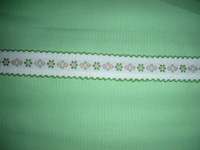 """VTG New old stock Pique FABRIC TABLECLOTH Solid Spring Green 62"""" x 90"""" NIP"""