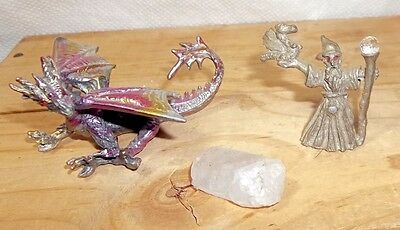 Pewter Miniature Figurines - Pink Dragon & Wizard + Raw Crystal