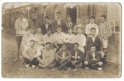 SOCIAL HISTORY Group of Teenage Schoolboys, Blazers, Sports, RP Postcard Unused