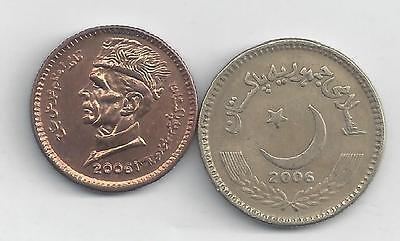 2 DIFFERENT COINS from PAKISTAN - 1 & 5 RUPEES (BOTH DATING 2006)