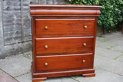 Antique Reproduction Solid Mahogany Sleigh Chest Of Drawers Secret Drawer