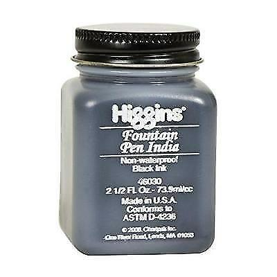 Higgins Black India Fountain Pen Ink, 2.5 Oz Bottle (46030) New