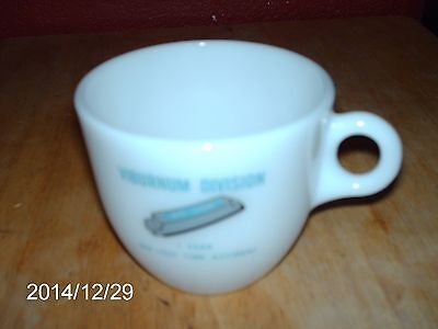Vintage Federal Glass Co. Milk Glass Coffee Cup Says: Viburnum Division St. Joe