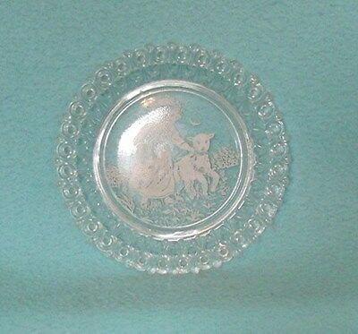 Antique Child's Plate featuring Girl with Lamb